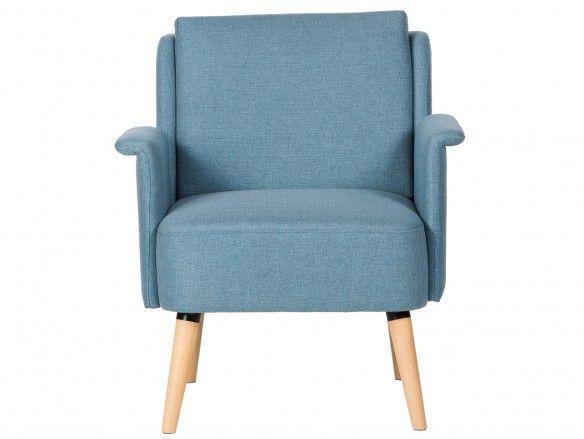 Sillón tapizado azul y patas madera  merkamueble