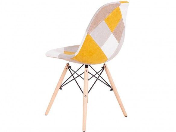 Pack 4 sillas de comedor tapizado mostaza y patas madera  merkamueble