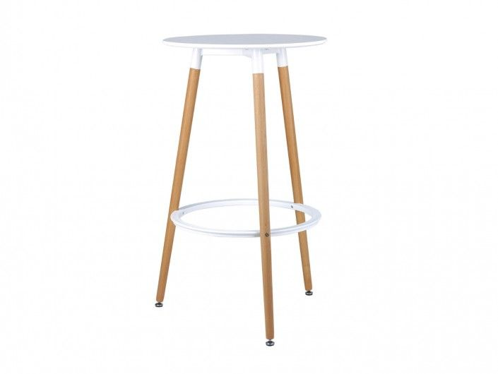 Mesa redonda alta y patas madera  merkamueble