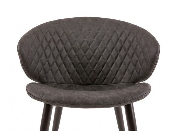 Silla de comedor tapizado símil piel gris y patas negras  merkamueble