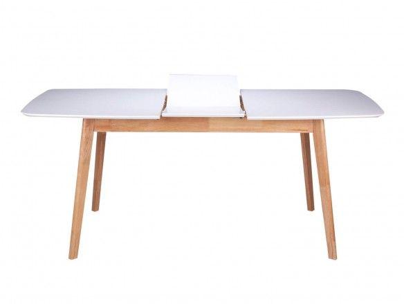Mesa de comedor rectangular extensible y patas madera  merkamueble