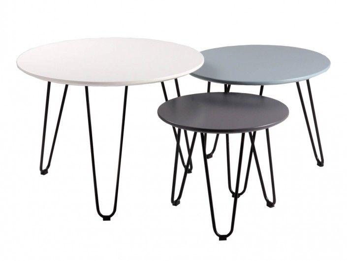 Set 3 mesas de centro redondas y patas metálicas  merkamueble