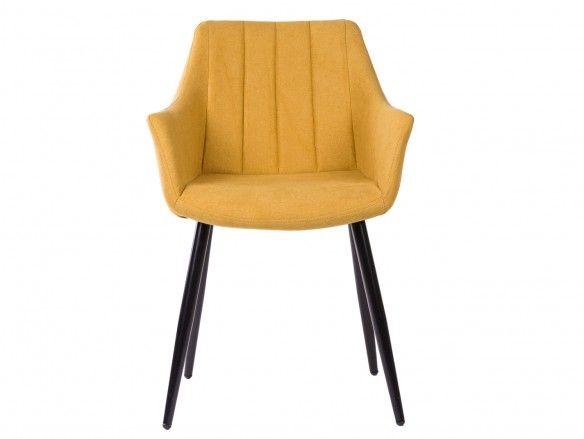 Pack 2 sillones de comedor tapizado mostaza y patas metálicas  merkamueble