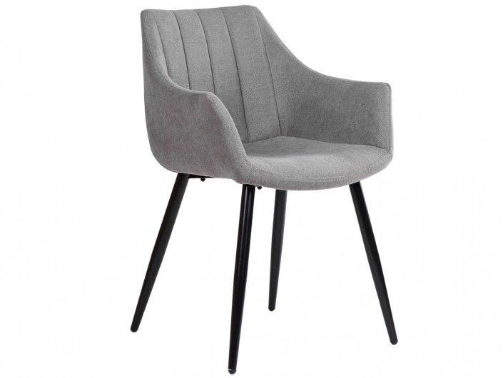 Pack 2 sillones de comedor tapizado gris claro y patas metálicas  merkamueble