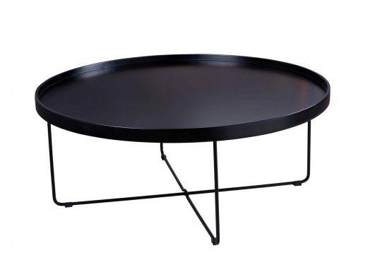Mesa de centro redonda negra y patas metálicas  merkamueble