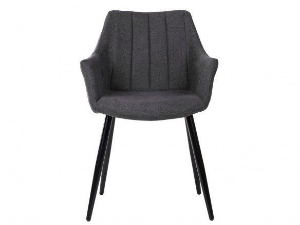 Pack 2 sillones de comedor tapizado gris oscuro y patas metálicas  merkamueble