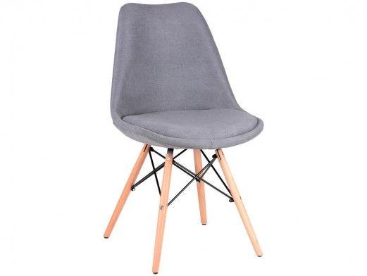 Pack 4 sillas de comedor tapizado gris y patas de madera  merkamueble