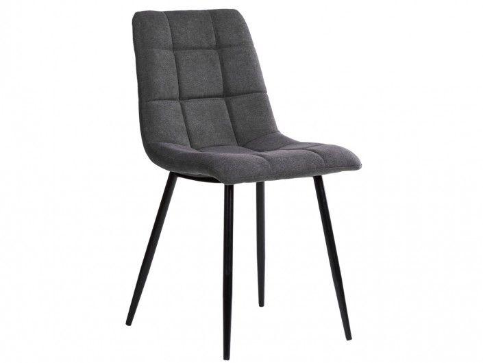 Pack 4 sillas de comedor tapizado gris oscuro y patas metálicas  merkamueble