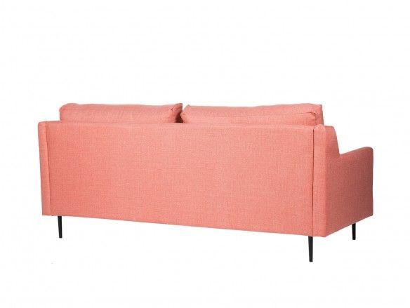 Sofá 3 plazas tapizado rose y patas metálicas  merkamueble