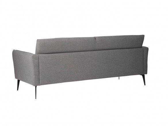 Sofá 3 plazas tapizado gris oscuro y patas metálicas  merkamueble