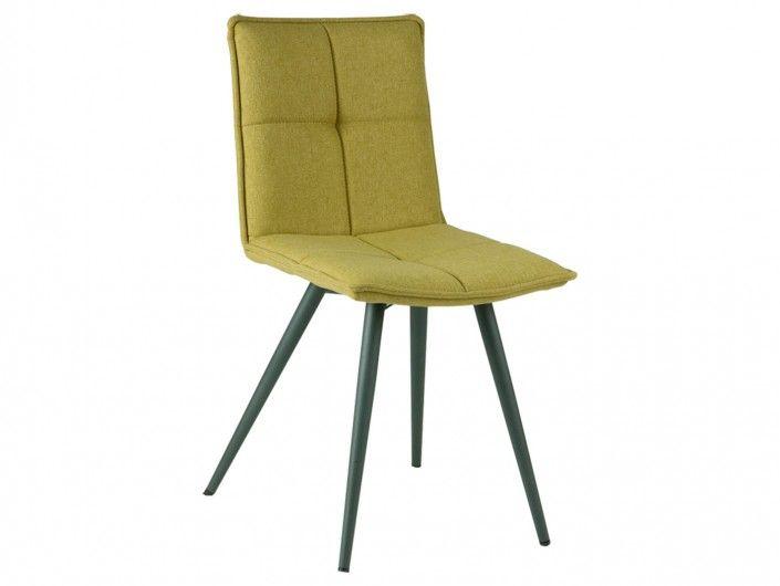 Pack 4 sillas de comedor tapizado verde lima y patas metálicas  merkamueble