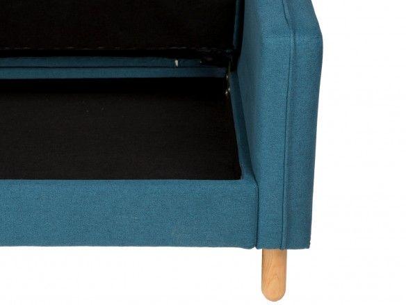 Sofá cama sistema apertura click clack tapizado azul y patas madera  merkamueble
