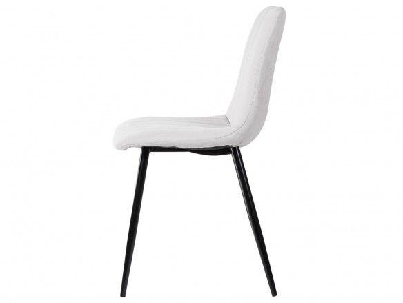Pack 4 sillas de comedor tapizado beige y patas metálicas  merkamueble