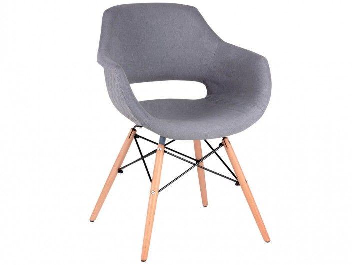Pack 4 sillas de comedor tapizado gris y patas madera  merkamueble