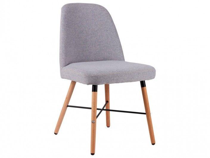 Silla de comedor tapizado gris claro y patas madera  merkamueble