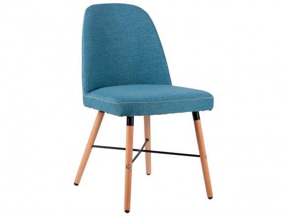 Silla de comedor tapizado azul y patas madera  merkamueble