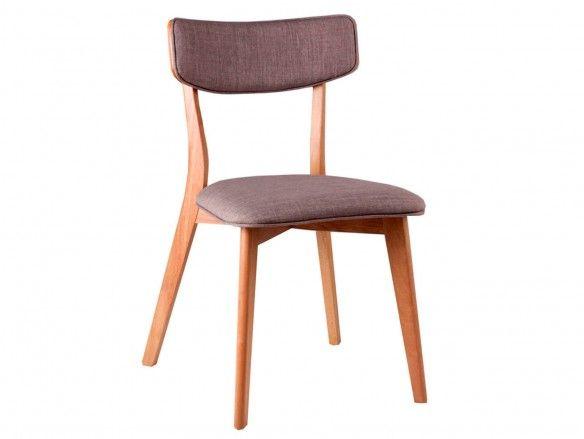 Pack 2 sillas de comedor tapizado gris claro y patas madera  merkamueble