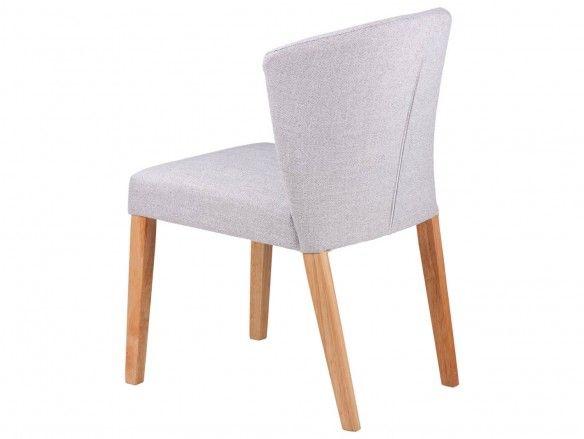 Pack 2 sillas de comedor tapizados gris claro y patas madera  merkamueble