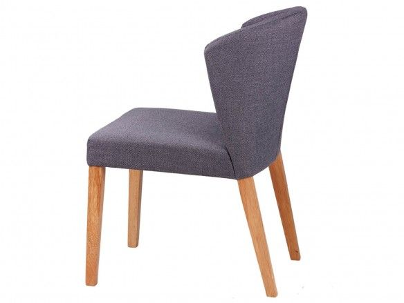 Pack 2 sillas de comedor tapizado gris oscuro y patas madera  merkamueble