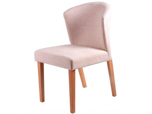 Pack 2 sillas de comedor tapizado beige y patas madera  merkamueble