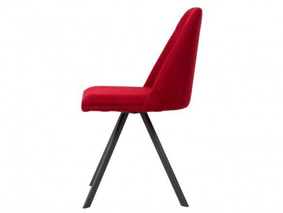 Pack 4 sillas de comedor tapizado rojo y patas metálicas  merkamueble