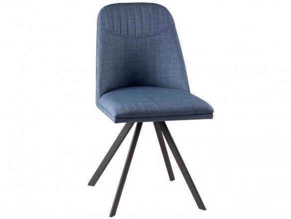 Pack 4 sillas de comedor tapizado azul y patas metálicas  merkamueble
