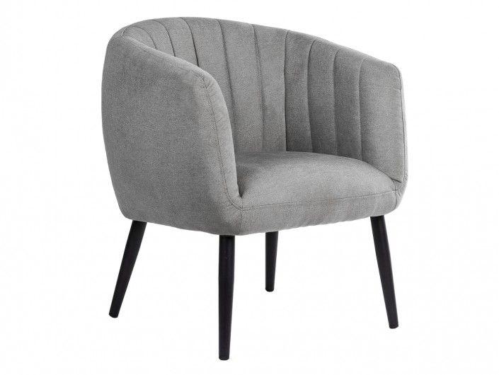 Sillón tapizado gris claro y patas metálicas  merkamueble