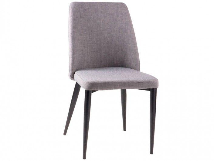 Pack 2 sillas de comedor tapizado gris claro y patas metálicas  merkamueble