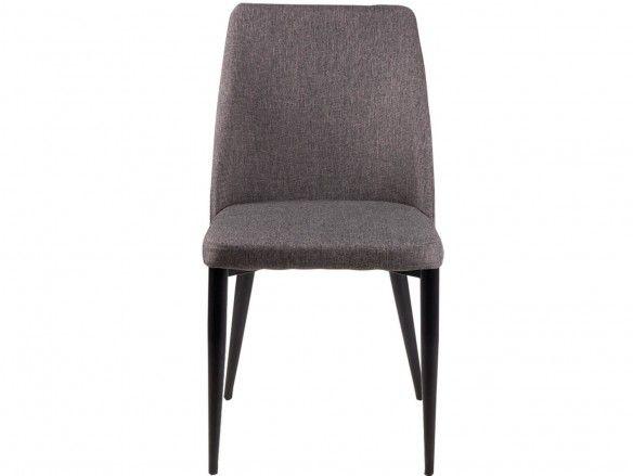 Pack 2 sillas de comedor tapizado gris oscuro y patas metálicas  merkamueble