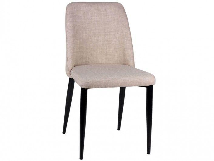 Pack 2 sillas de comedor tapizado beige y patas metálicas  merkamueble