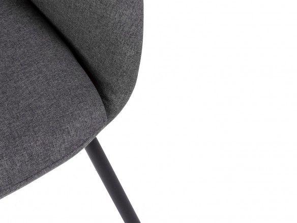 Sillón tapizado gris oscuro y patas metálicas  merkamueble