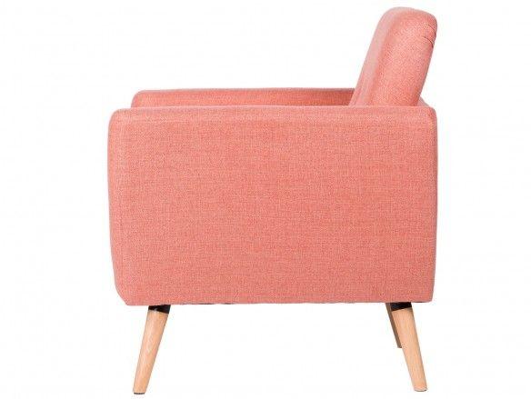 Sillón tapizado rose y patas madera  merkamueble